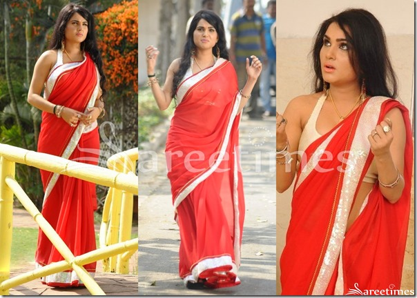 Kavya_SIngh_Red_Plain_Saree