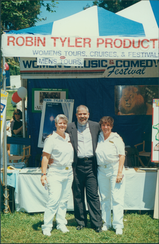 Reverend Troy Perry, Robin Tyler (right), and an unidentified woman at the Orange Country Gay Pride Festival.1991.