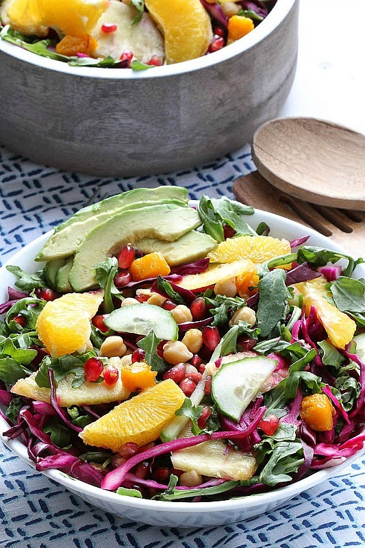 Arugula Salad with Red Cabbage, Pomegranate, Orange and Pineapples by -- @LifeMadeSweeter.jpg