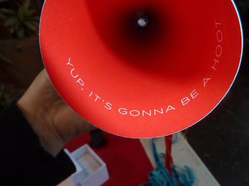 The inside of the save the date horn reads: Yup, it's gonna be a hoot.