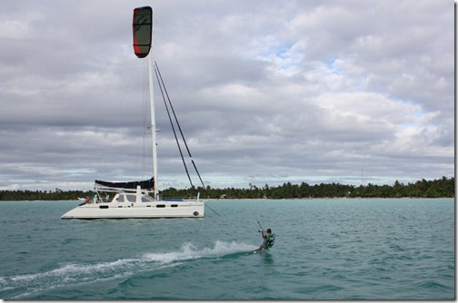 Kiting in Maupiti anchorage