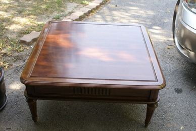 Coffee table becomes and ottoman at JunkinJunky.blogspot.com