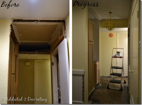 hallway before and progress