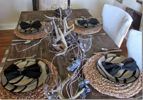 Rustic and refined tablescape using antlers for a woodland setting