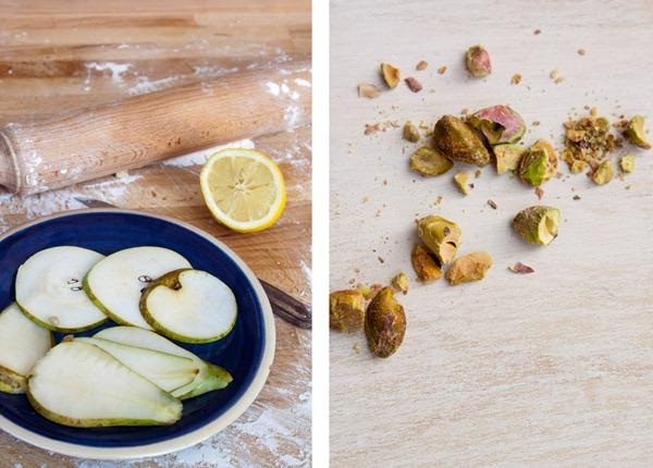 peras y pistachos