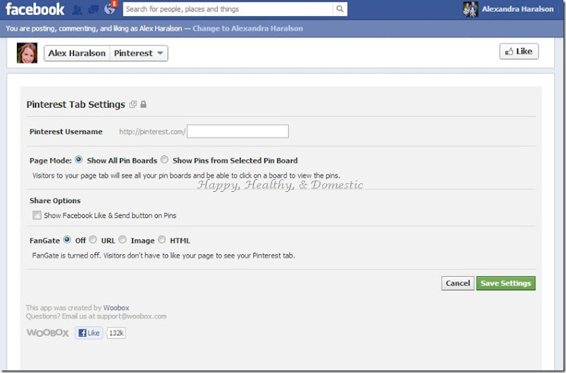 14 Custom FB app tabs add pinterest tab settings