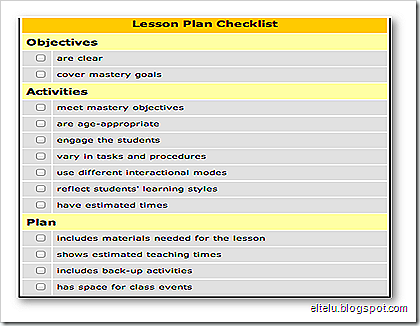 Lesson Plan Checklist