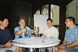 Paul O'Connor, SJ; Fr. Bill Creed, SJ; Br. Denis Weber, SJ; Matt Couture:  Bill Celebrating mass during an internship 2006