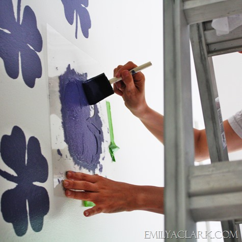 stenciling with a sponge brush