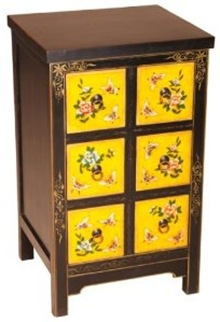 yellow oriental side chest