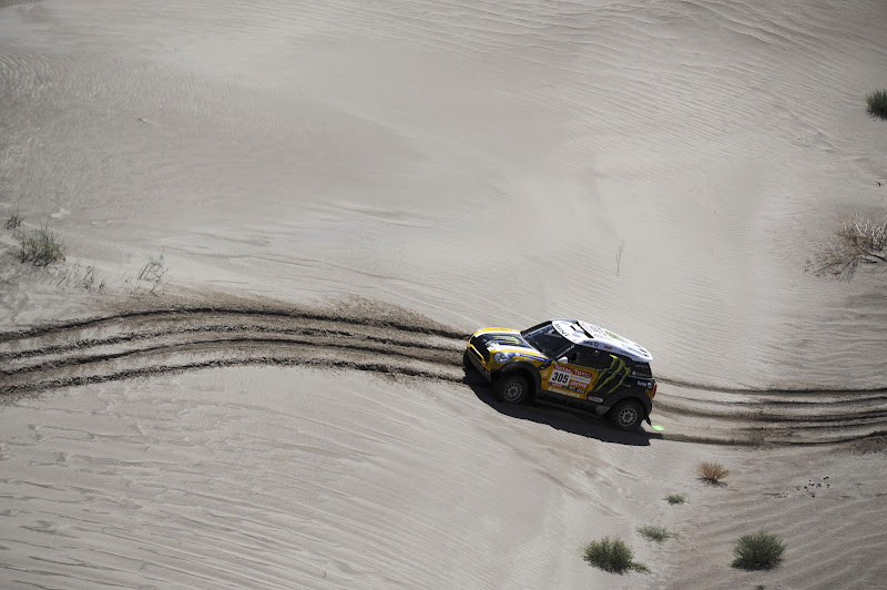 "Mini'S driver Joan ""Nani"" Roma, from Spain, and co-driver Michel Perin, from France, compete in the fifth stage of the 2012 Argentina-Chile-Peru Dakar Rally between Chilecito and Fiambala in Argentina, Thursday, Jan. 5, 2012. (AP Photo/Jerome Prevost, Pool)"