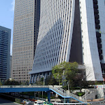 base of the skyscrapers in shinjuku in Shinjuku, Tokyo, Japan