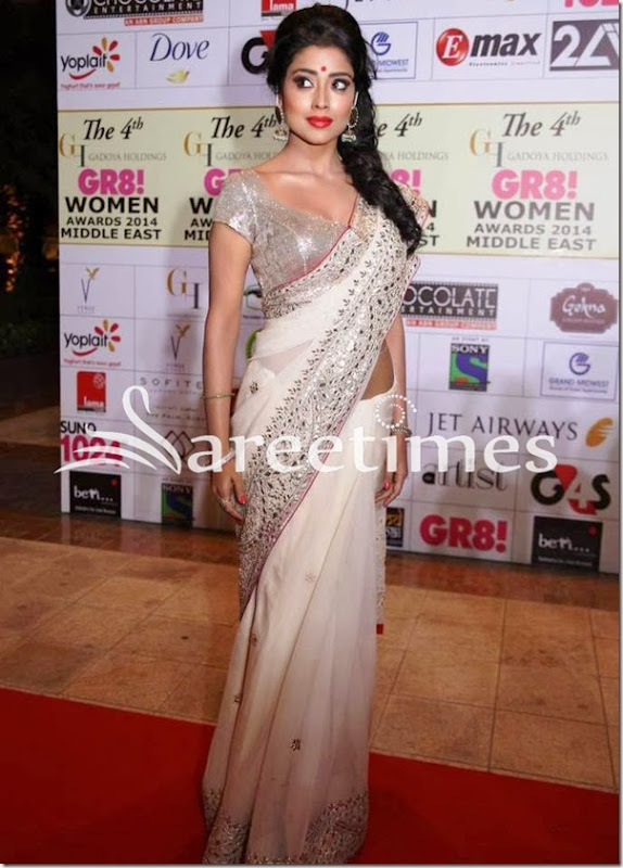 Shriya_Saran_White_Georgette_Saree