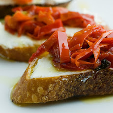 Crostini with Lemony Mascarpone and Sweet Fiery Peppers