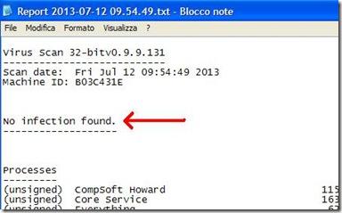 BullGuard Virus Scan risultato scansione antivirus