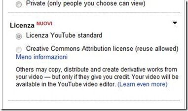 licenza youtube creative commons