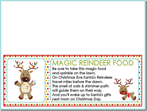 Magic Reindeer Food Labels and Recipe