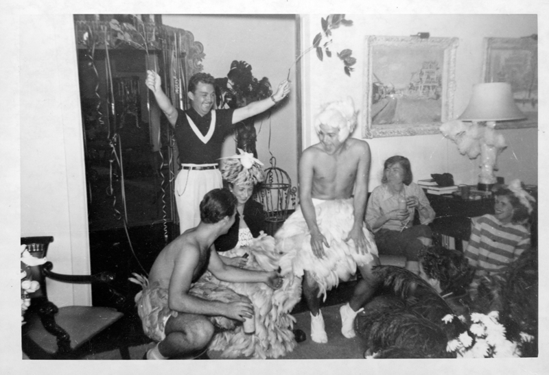"Friends, some in costume, have fun at a Henry Wooton Grace ""Japanese"" party thrown at his home. Grace was a Hollywood set designer and art director from 1935-1970. Circa 1951-1958."
