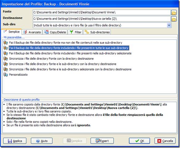 SyncBack Impostazione del Profilo
