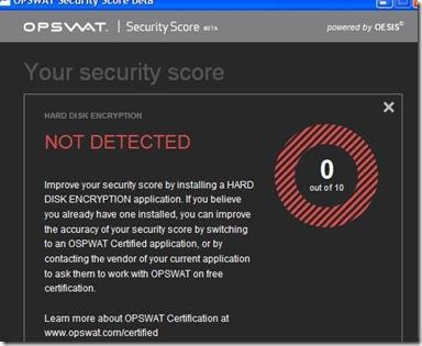 OPSWAT Security Score descrizione e suggerimento per rimediare alla falla di sicurezza riscontrata