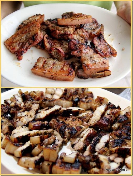 platter of 3-layer pork belly grilled and sliced
