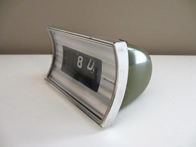 green Bulova B 5410 flip alarm clock front