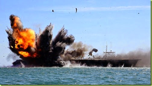 iran maneuvers blows up u.s. ship