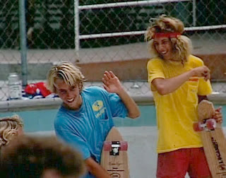 "A very young Jay Adams and Tony Alva having fun messing around. The quality of ""T"" Shirts back then were a lot more superior then they are today."