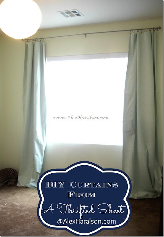 DIY Lined Curtains from a thrifted Sheet