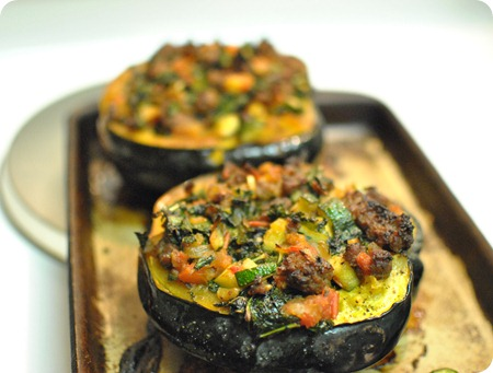kale and sausage-stuffed acorn squash
