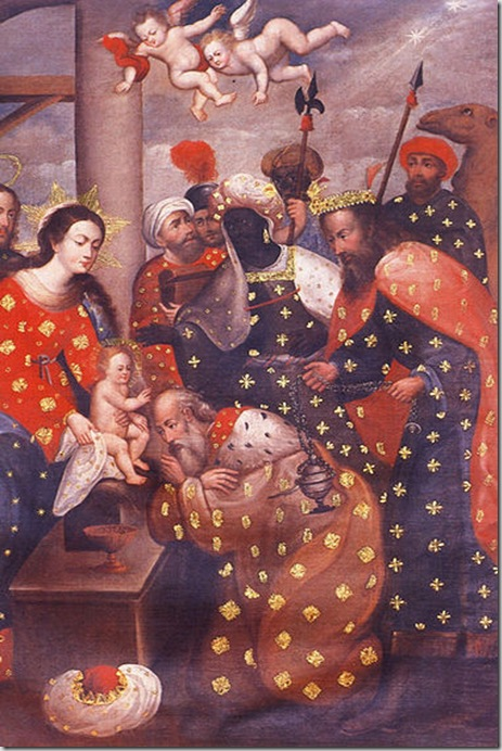 La adoración de los Reyes Magos, pintura anónima realizada entre 1740 y 1760, perteneciente a la escuela Cuzqueña de Pintura. Es una representación mestiza de una célebre pintura de Rubens.