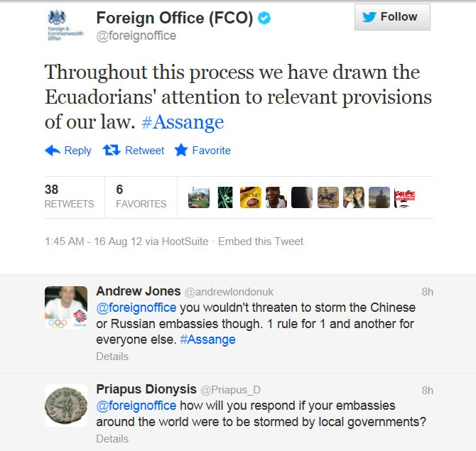 British Foreign Office tweet