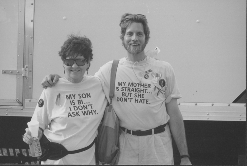 Michael Szymansky with his mother at the March on Washington. 1993.