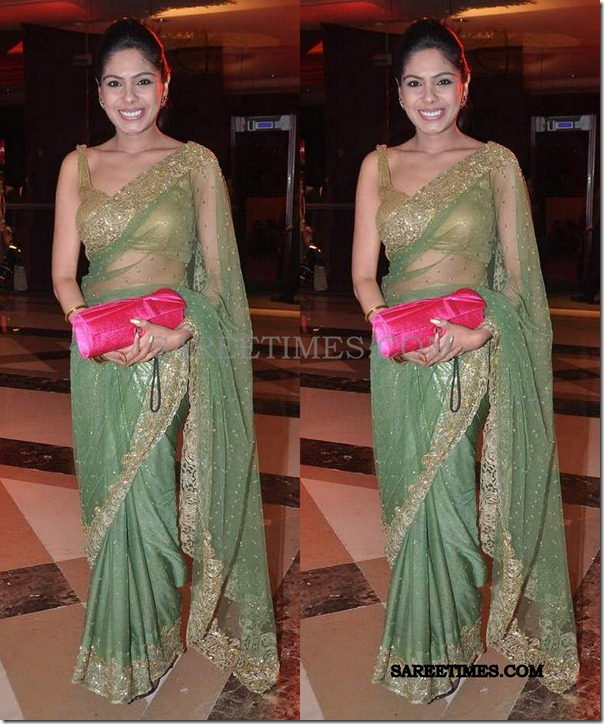 anushree_green_saree