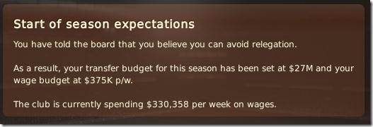 Season expectations