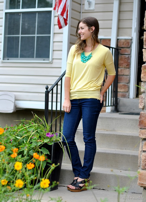 yellow with a pop of green