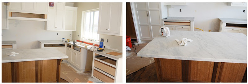 kitchen counters going in
