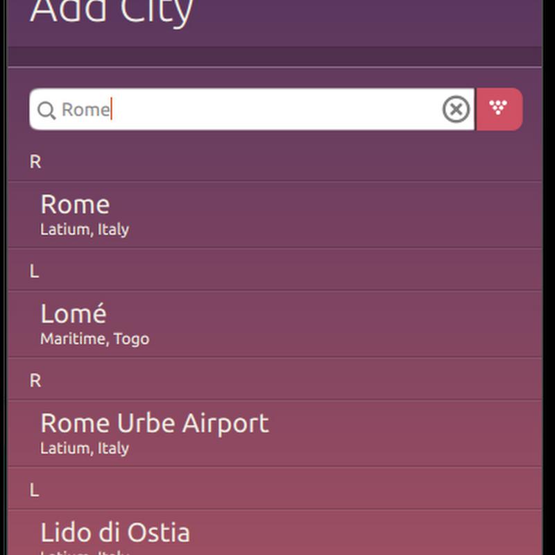 Una delle novità principali della Clock App è il nuovo layout della pagina per la ricerca delle città.