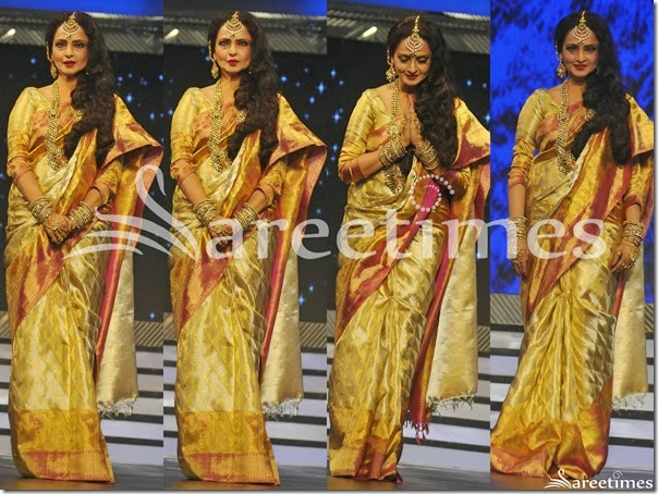 Rekha_Gold_Cream_Bridal_Silk_Saree