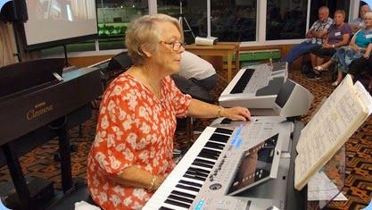 Marlene Forrest played her great Tyros 4 with her usual sensitve touch. Photo courtesy of Dennis Lyons.