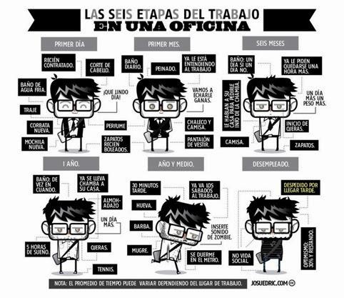 Las 6 etapas del trabajo en una oficina