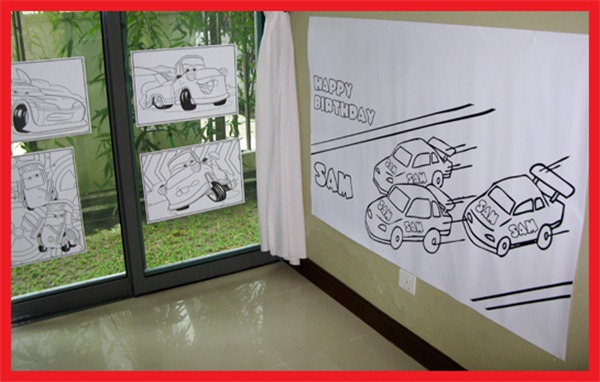 Race Car Birthday Party Coloring Activity