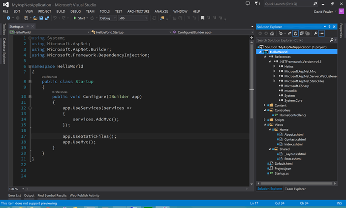 Proyecto ASP.NET vNext