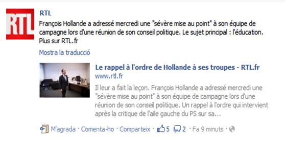 François Hollande mesa al punt