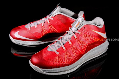 nike lebron 10 low gr ohio state 1 01 First Look at Nike Air Max LeBron X Low Ohio State