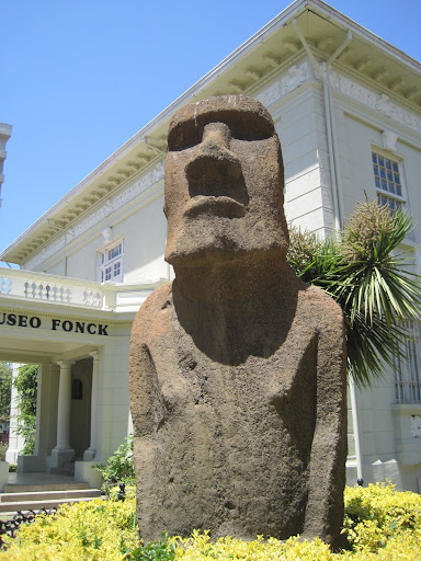 A Moai from Easter Island in front of the Archeology Museum.