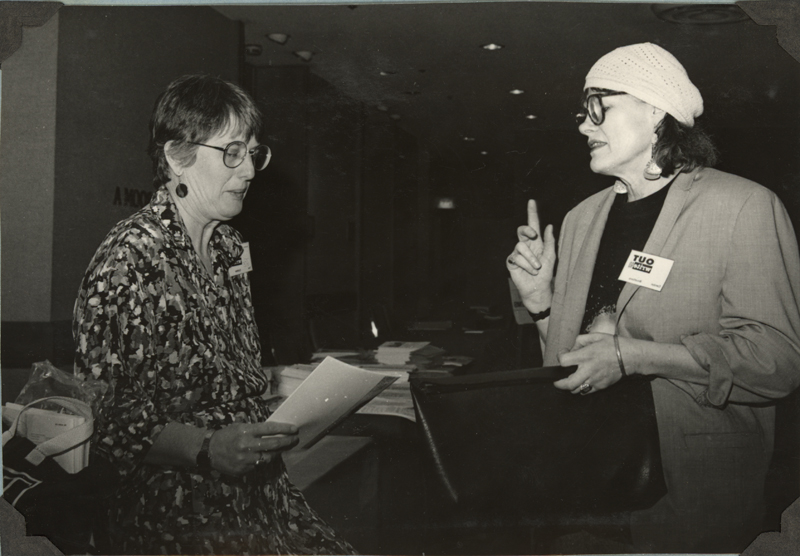 Tee Corinne and Carolyn Weathers at the OutWrite Conference in San Francisco. May 3-4, 1990.