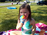 Kiddie pool and snow cone on a hot day! (June)