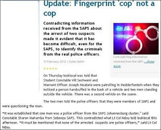 SAPS HAD TROUBLE IDENTIFYING CRIMINALS FROM POLICE OFFICERS DYLAN SLATER 13 FEB 2012 BEDFORDVIEW LOOKLOCAL