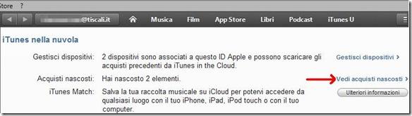 iTunes nella nuvola Vedi acquisti nascosti